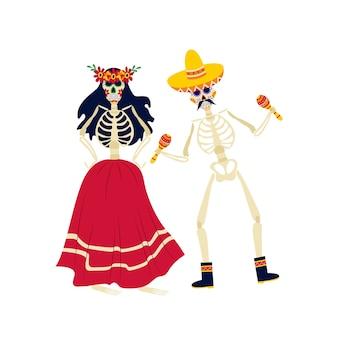 Scheletri in costumi nazionali messicani ballano e suonano i personaggi dei cartoni animati per le celebrazioni del dia de los muertos, illustrazione. giorno della morte.