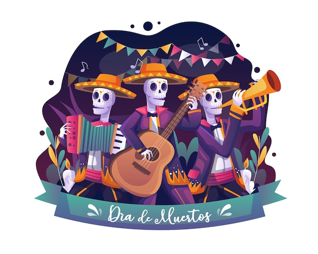 Musicisti di scheletri che suonano musica su day of dead mexican halloween dia de los muertos illustrazione