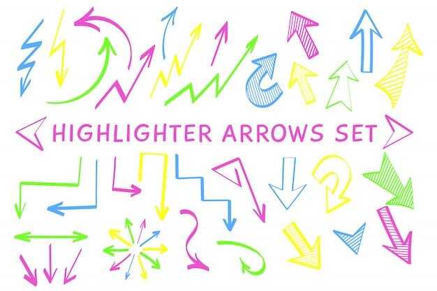 Set di marcatori di evidenziazione del puntatore a freccia di schizzo