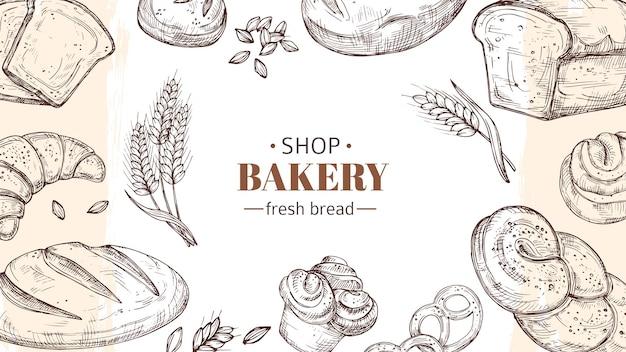 Sfondo di panetteria di schizzo. pane, focacce e panini freschi, banner di spighe di grano. negozio di alimenti freschi o illustrazione vettoriale caffè. schizzo di panetteria, pane e croissant