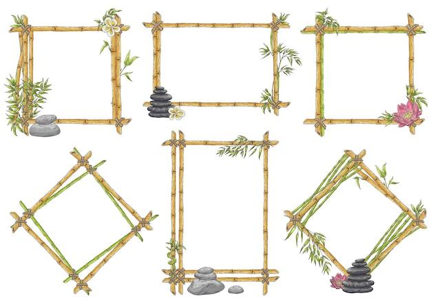 Schizzo cornice di bambù con set di ciottoli zen