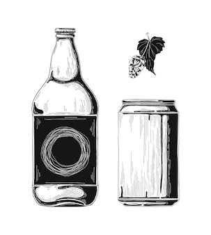 Schizzo di bottiglie di birra e lattine di alluminio. .