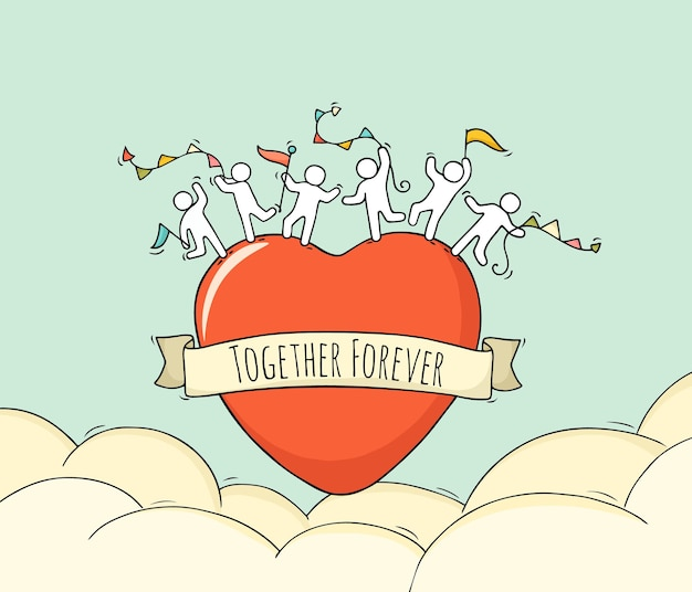 Schizzo di grande cuore con piccole persone carine. doodle carino scena romantica in miniatura sull'amore.