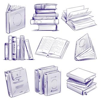 Libri di schizzi. mucchio del libro dell'illustrazione della mano dell'annata. simboli di educazione della letteratura della biblioteca, set di quaderni di incisione di schizzo