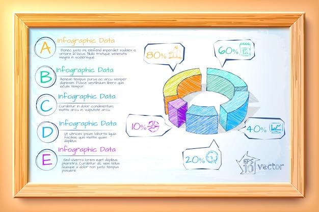 Schizzo modello di business infografica con diagramma colorato cinque opzioni di testo e icone nell'illustrazione cornice in legno