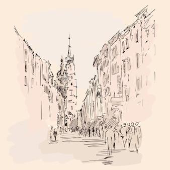 Schizzo della via centrale di una città europea con edifici a più piani e pedoni.