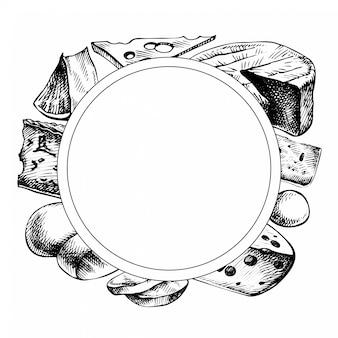 Cornice di formaggio schizzo. illustrazione disegnata a mano dell'inchiostro dei tipi di formaggio. isolato su bianco