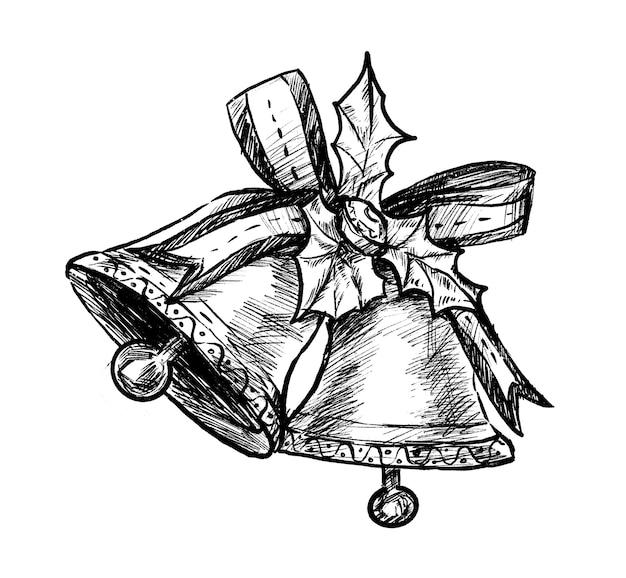 Schizzo di tiraggio della mano di campane di natale