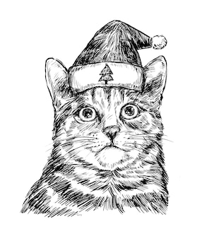 Schizzo di tiraggio della mano del gatto di natale