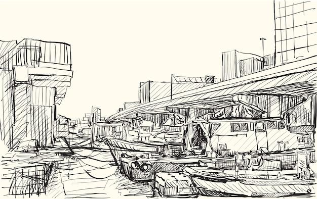 Schizzo lo scape della città del giappone, illustrazione di tiraggio della mano libera del porto di yokohama