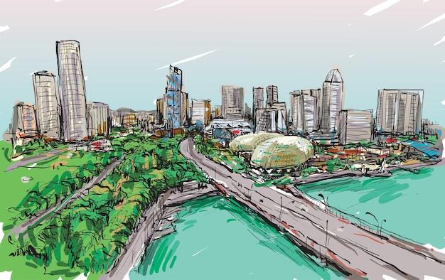 Schizzo della città sullo skyline di singapore, illustrazione di tiraggio della mano libera