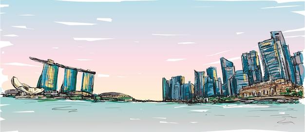Schizzo lo scape della città dell'orizzonte di singapore con la baia di marina e il paesaggio dell'edificio, illustrazione di tiraggio della mano libera