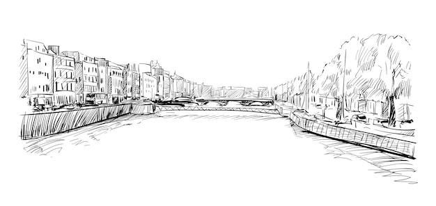 Schizzo del paesaggio urbano a dublino mostra lo skyline e la costruzione lungo il fiume llffey