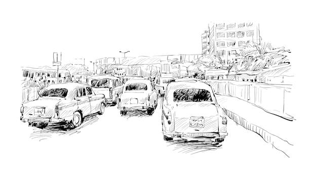 Lo schizzo del paesaggio urbano in india mostra la via di calcutta su trafic jam, illustrazione