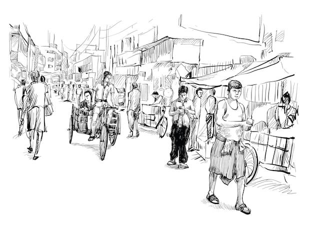 Schizzo del paesaggio urbano in india mostra mercato di strada locale e triciclo