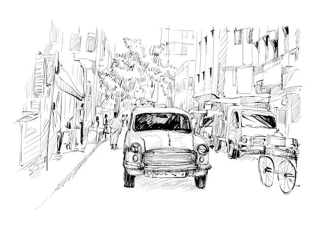 Lo schizzo del paesaggio urbano in india mostra il trasporto taxi locale sulla strada, illustrazione
