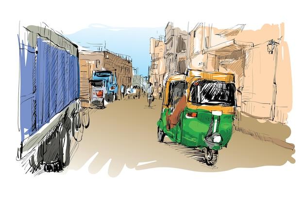 Lo schizzo del paesaggio urbano in india mostra il trasporto moto rickshaw, illustrazione
