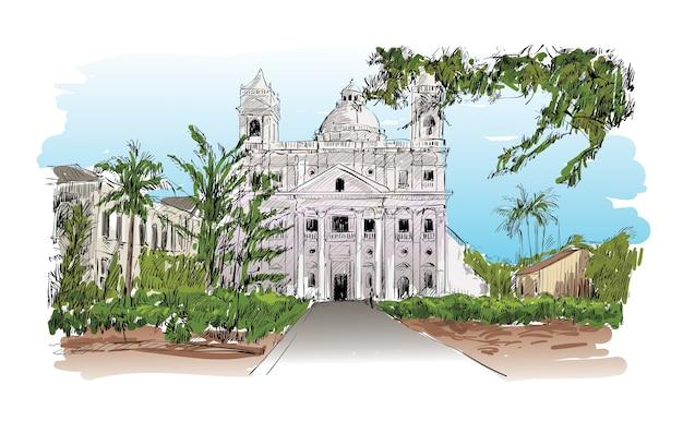 Schizzo del paesaggio urbano a calcutta, in india, mostra la chiesa e l'illustrazione del giardino