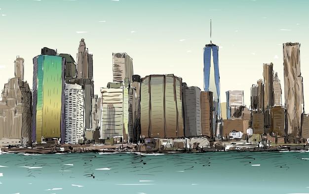 Schizzo del paesaggio urbano a new york mostra manhattan midtown con grattacieli, illustrazione