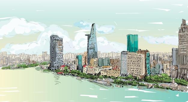 Schizzo paesaggio urbano della città di saigon (ho chi mihn) vietnam mostra skyline e costruzione, illustrazione