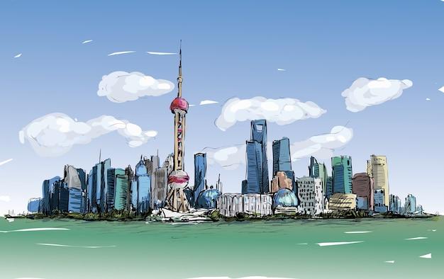 Schizzo del paesaggio urbano a shanghai mostra architettura e edificio lungo il fiume, illustrazione