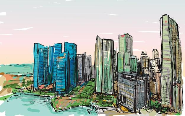 Schizzo il paesaggio urbano dell'orizzonte della costruzione di singapore, illustrazione di tiraggio della mano libera