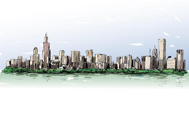 Schizzo di cityscape skyline mostra edificio in centro lungo il fiume illustrazione
