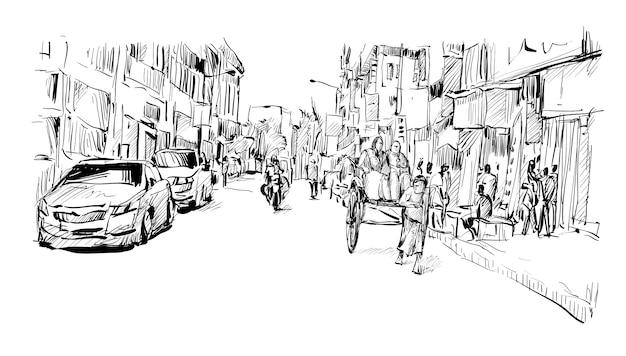 Lo schizzo del trasporto di paesaggio urbano in india mostra l'autista del risciò tirato a mano tradizionale che lavora sulla strada, illustrazione
