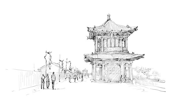 Schizzo del paesaggio urbano nella città a piedi di xi'an cina, illustrazione