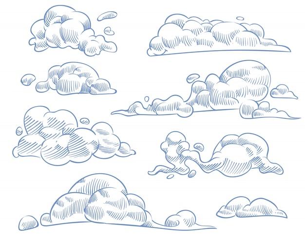 Nuvole di schizzo. disegno arricciato del cielo nuvoloso. incisione artigianale a mano in stile vintage set vettoriale