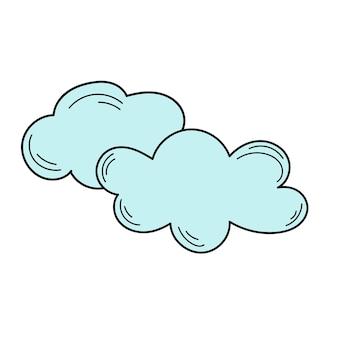Schizzo di nuvole. illustrazione vettoriale. icona di doodle di nuvole. icona disegnata a mano semplice su bianco