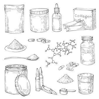 Sketch polvere proteica di collagene, molecola di elica, pillole, olii essenziali - idrolizzati. vaso disegnato a mano misura cucchiaio e bicchiere d'acqua.