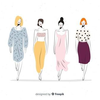 Schizzo collezione di modelli di moda Vettore Premium