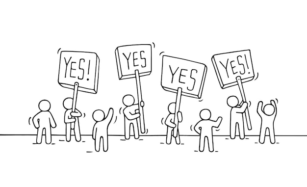 Schizzo di gente piccola folla. doodle carino scena in miniatura di lavoratori con trasparenti di protesta. illustrazione di vettore del fumetto disegnato a mano per progettazione aziendale e infografica.