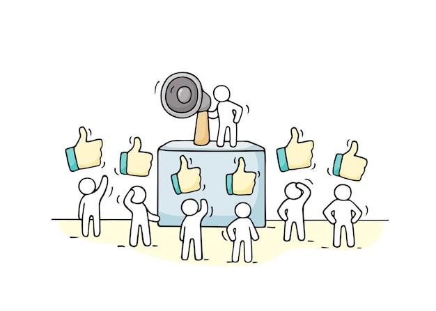 Schizzo folla di piccole persone con segni simili. doodle carina miniatura con leader sulla tribuna e megafono. illustrazione disegnata a mano del fumetto per la progettazione di affari.