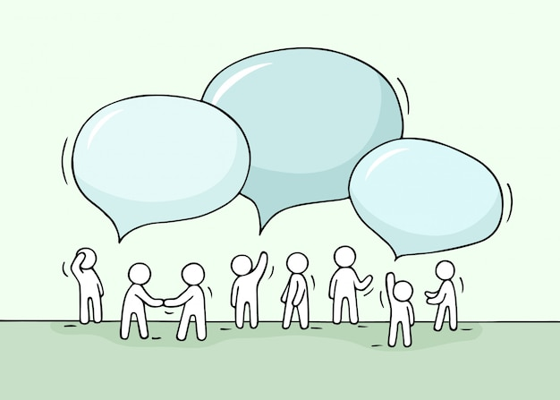 Schizzo - folla di piccole persone che lavorano con bolle di discorso.