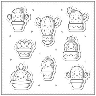 Schizzo di carino collezione di cactus set di disegno per colorare