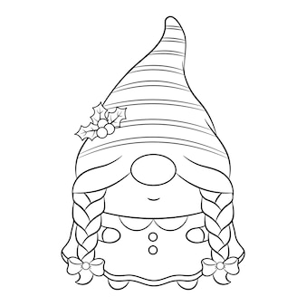 Schizzo di simpatici gnomi femminili di natale che disegnano con un lungo cappello a bacca rossa e cornice