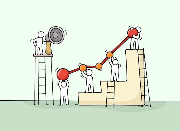 Schizzo del diagramma con piccole persone che lavorano. doodle carino lavoro di squadra in miniatura. illustrazione del fumetto disegnato a mano per progettazione aziendale e infografica.
