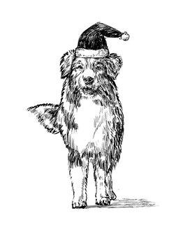 Schizzo del cane di tiraggio della mano di natale