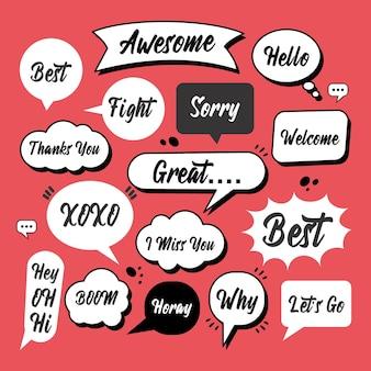 Bolla di discorso di doodle di schizzo con frase di comunicazione