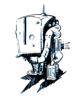 Schizzo di un robot cyberpunk