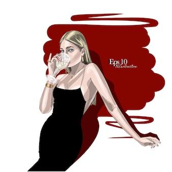 Schizzo disegnato a mano. donna alla moda in abito nero e con un bicchiere di vino.