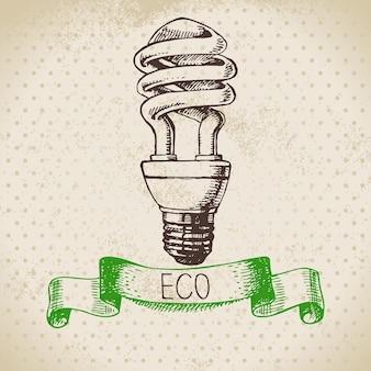 Fondo dell'annata di ecologia di schizzo. illustrazione vettoriale disegnata a mano