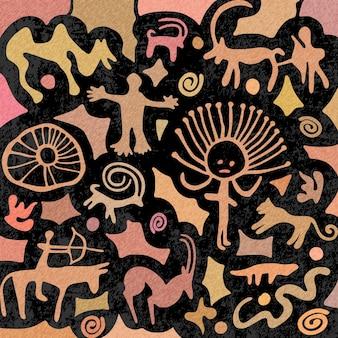Schizzo sul tema etnico, una serie di incisioni rupestri, pitture rupestri dell'asia centrale, disegno vettoriale