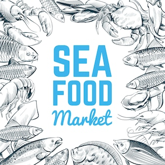 Modello di pesce e frutti di mare di schizzo
