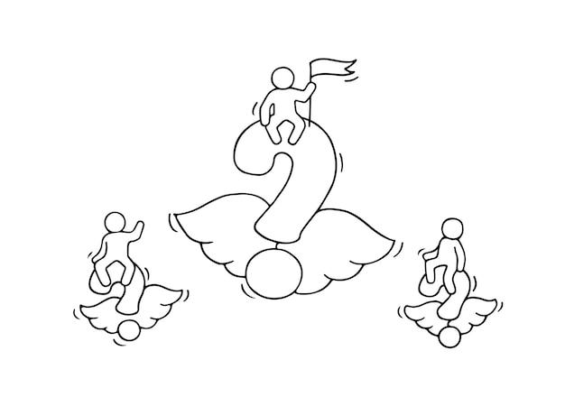 Schizzo di domande volanti con piccoli lavoratori. doodle carino miniatura con simbolo di chiedere e lavoro di squadra.