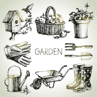 Insieme di giardinaggio di schizzo. elementi di design disegnati a mano