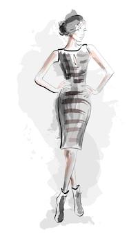 Ragazza di schizzo nell'illustrazione del vestito di modo