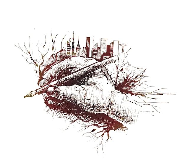 Schizzo della penna della tenuta della mano isolata su fondo bianco con l'orizzonte urbano della città